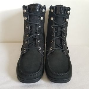Sperry Black Lace Up Sparkle Boot